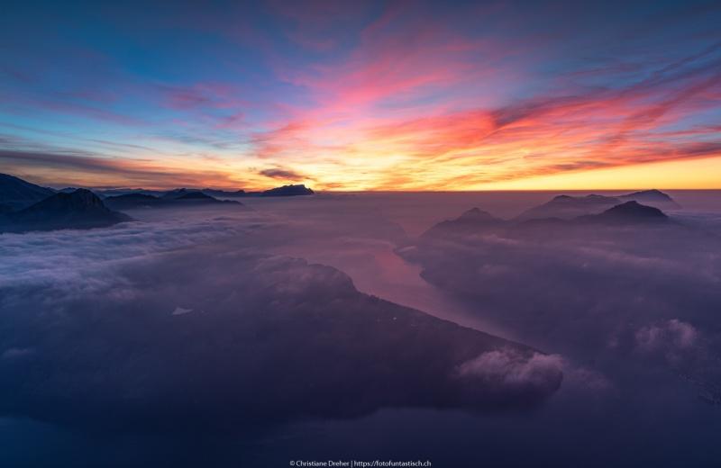 Nachdem die Sonnen untergegangen ist, Blick über den Vierwaldstättersee - ©Christiane Dreher